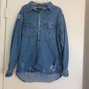 Forever 21: Distressed Button Up Jacket